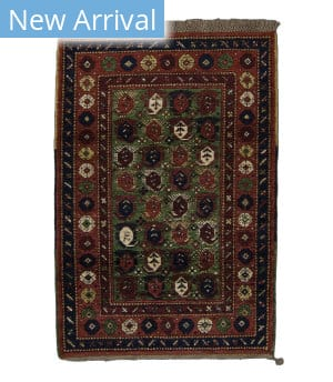 Tufenkian Knotted Seychour Boteh Moss Green Area Rug