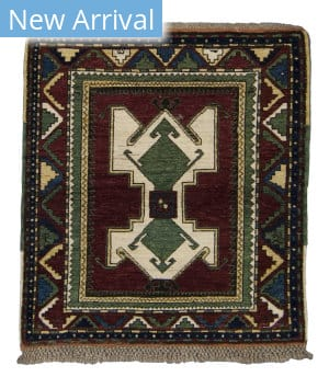 Tufenkian Knotted Crab Kazakh Berry/Green Area Rug