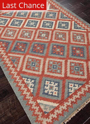 Rugstudio Sample Sale 81807R Burnt Brick - Medium Blue Area Rug