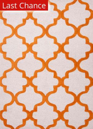 Rugstudio Sample Sale 82178R White/Sun Orange Area Rug