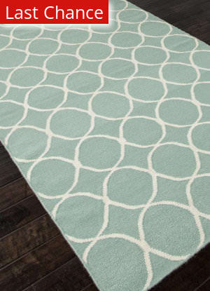 Rugstudio Sample Sale 81838R Light Turquoise / White Area Rug