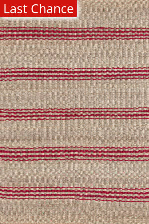 Dash And Albert Jute Ticking 92369 Crimson Area Rug