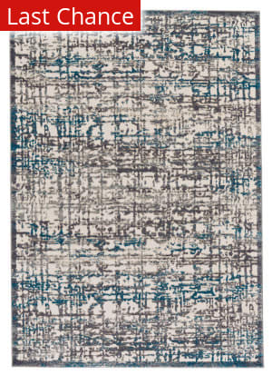 Rugstudio Sample Sale 184627R Gray - Turquoise Area Rug