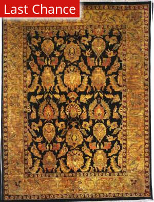 Rugstudio Sample Sale 13573R Black/Gold Area Rug