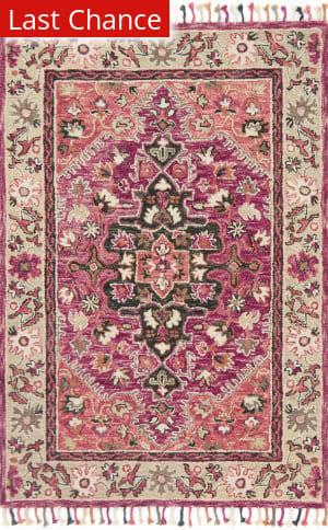 Rugstudio Sample Sale 167397R Raspberry - Taupe Area Rug