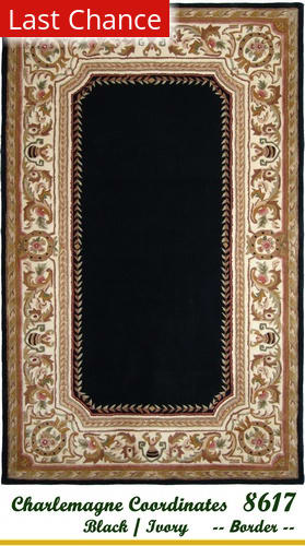 Rugstudio Sample Sale 18893R Black-Ivory Border Area Rug