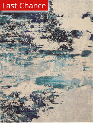Rugstudio Sample Sale 193662R Ivory Teal Blue Area Rug