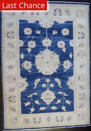 ORG Peshawar Floral Blue Area Rug