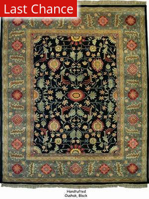 Org Handtufted Oushak Black Area Rug