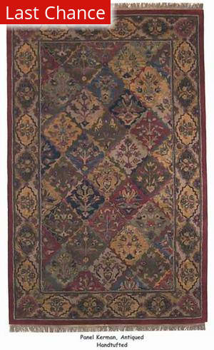ORG Handtufted Panel Kerman Antiqued Area Rug