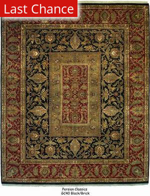 ORG Persian Classics GC40 Black / Brick Red Area Rug