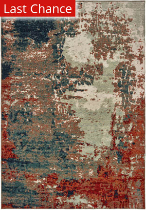 Rugstudio Sample Sale 189616R Blue - Rust Area Rug