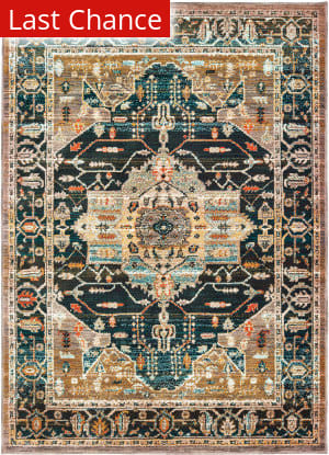Rugstudio Sample Sale 195390R Blue - Gold Area Rug
