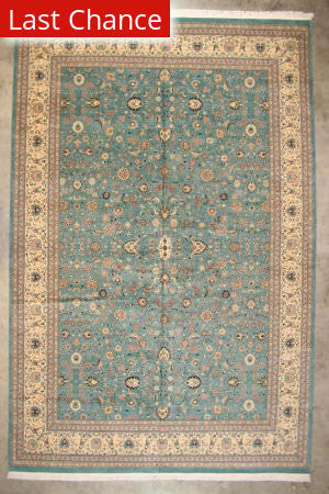 Rugstudio Sample Sale Floral Light Blue - Ivory Area Rug