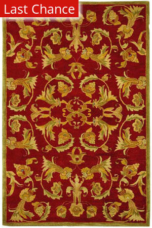 Rugstudio Sample Sale 46252R Burgundy / Sage Area Rug