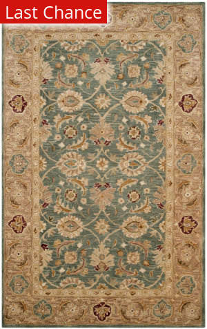 Rugstudio Sample Sale 154844R Teal Blue - Taupe Area Rug