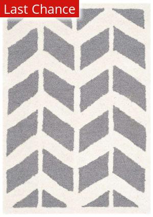 Rugstudio Sample Sale 126694R Dark Grey - Ivory Area Rug