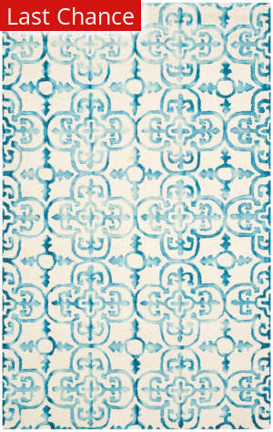 Rugstudio Sample Sale 155184R Ivory - Turquoise Area Rug