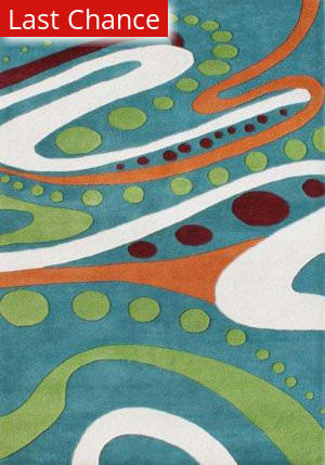 Rugstudio Sample Sale 47315R Teal / Multi Area Rug