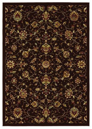 828 Greenville Collection 1-1036-80 Chocolate Brown Floral No Border Area Rug