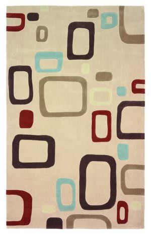 828 Mirage Collection 3-0549-99 Ivory/Brown/Blue Area Rug