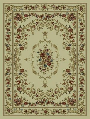 828 Rhine Collection RH12 IV Ivory with Ivory Border Area Rug