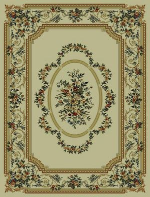 828 Rhine Collection RH13 IV Ivory with Ivory Border Area Rug