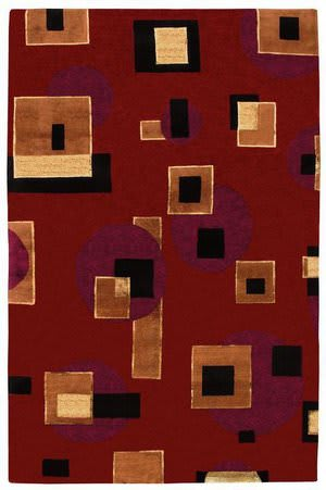 828 Tibetan Collection TIB70 Red/Black/Tan Area Rug