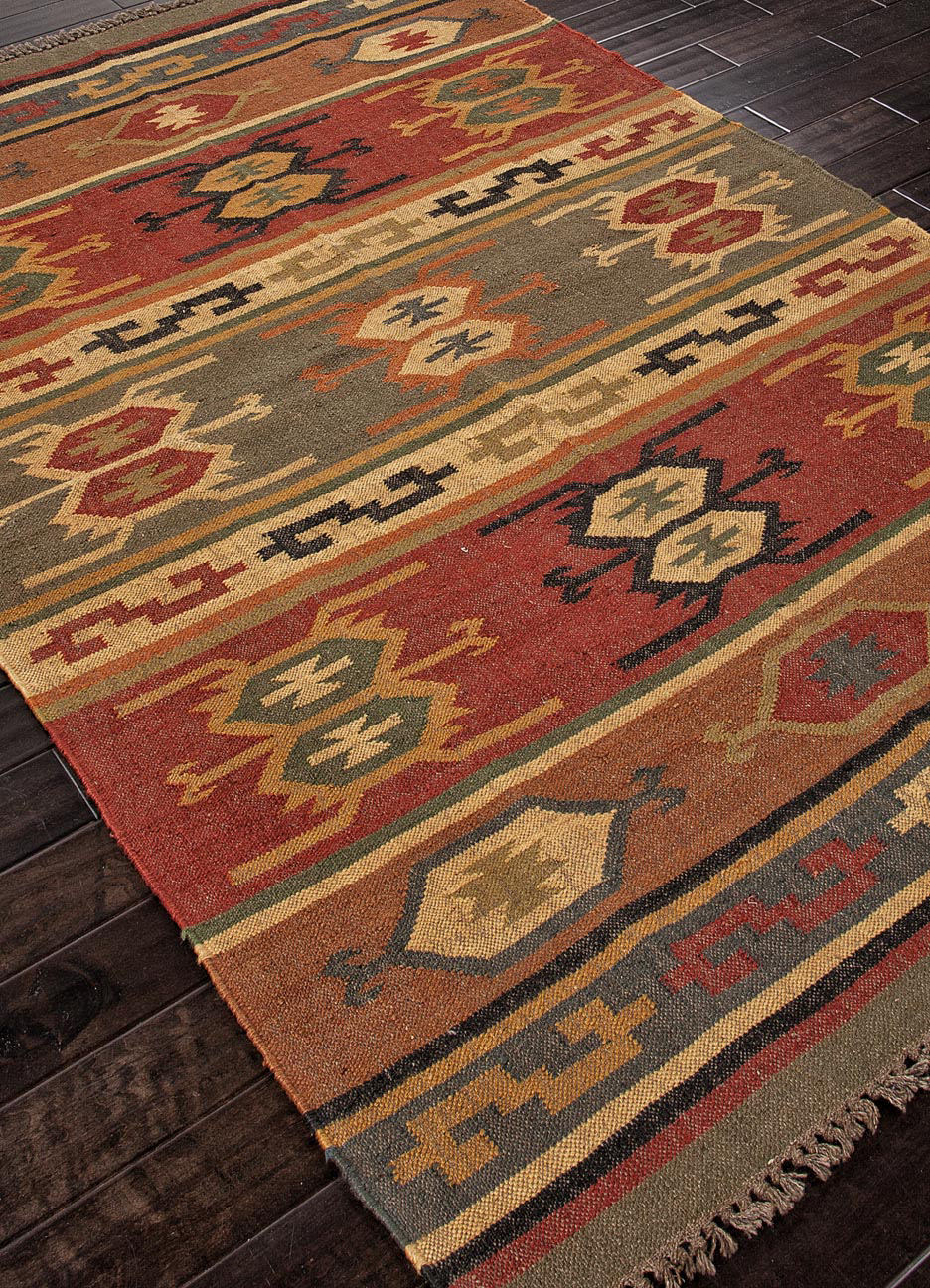 Addison And Banks Flat Weave Abr0036 Deep Rust Rug Studio