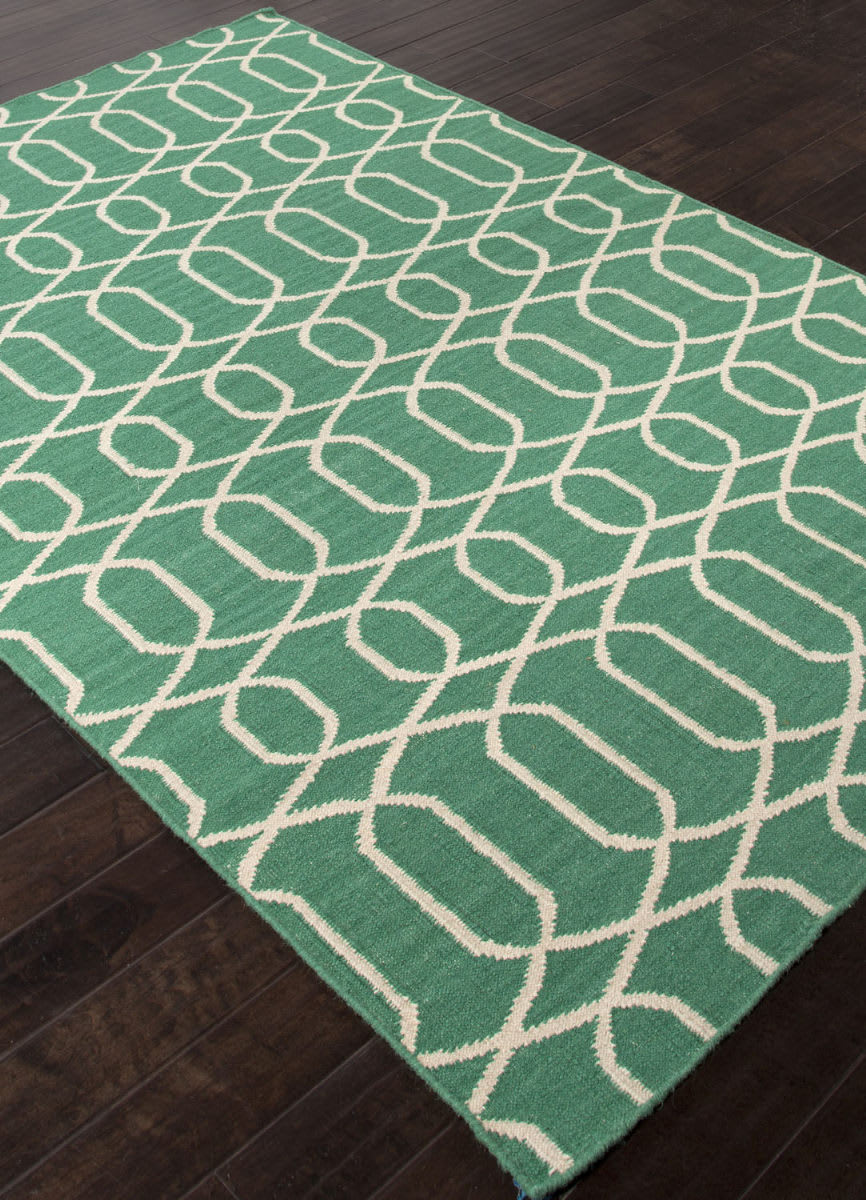 Addison And Banks Flat Weave Abr1480 Emerald Green