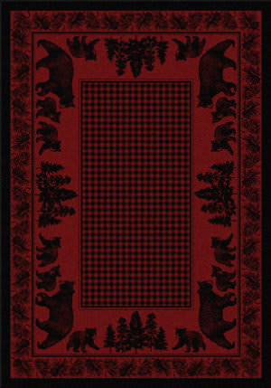 American Dakota National Park Bear Family Red Area Rug