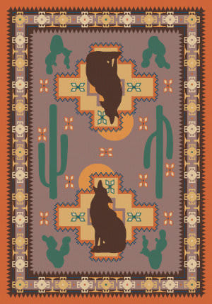 American Dakota National Park Howl At The Moon Coral Area Rug