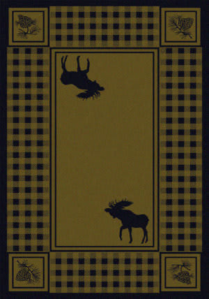 American Dakota Cabin Moose Refuge Green Area Rug
