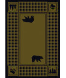 American Dakota Cabin Bear Refuge Green Area Rug