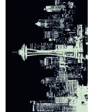 American Dakota Novelty Cityscape Black Area Rug