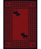 American Dakota Cabin Moose Refuge Red Area Rug