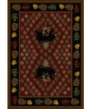 American Dakota National Park Patchwork Bear Red Area Rug