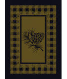 American Dakota Cabin Pine Refuge Green Area Rug