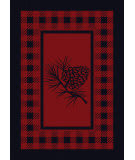 American Dakota Cabin Pine Refuge Red Area Rug