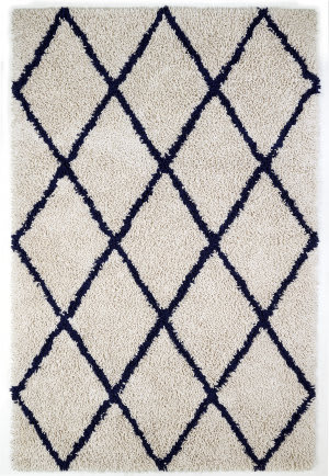 Anji Mountain Silky Shag 142071 Ivory - Navy Blue Area Rug