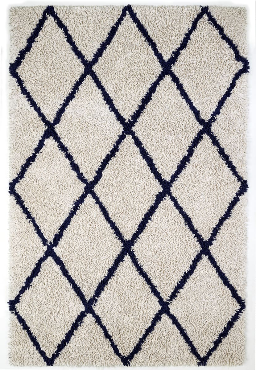 Picture of: Anji Mountain Silky Shag 142071 Ivory Navy Blue Rug Studio