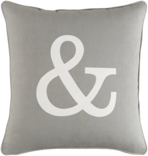 Surya Glyph Pillow Ampersand Gray - White
