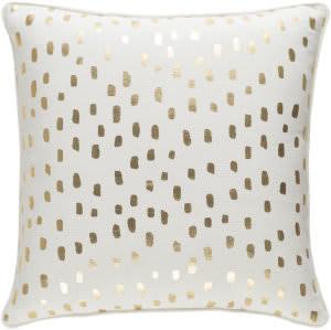 Surya Glyph Pillow Dalmatian Dot White - Metallic Gold