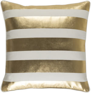 Surya Glyph Pillow Stripe Metallic Gold - White