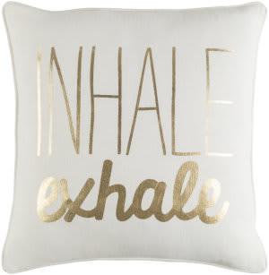 Surya Glyph Pillow Inhale/Exhale White - Metallic Gold