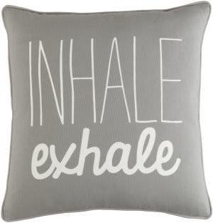 Surya Glyph Pillow Inhale/Exhale Gray - White