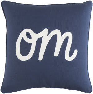 Surya Glyph Pillow Om Navy - White