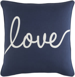 Surya Glyph Pillow Romantic Love Navy - White