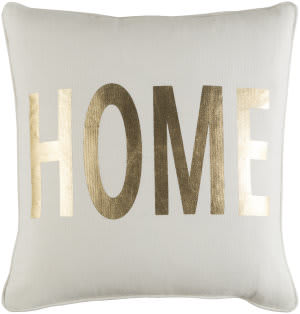Surya Glyph Pillow Home White - Metallic Gold