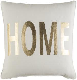 Surya Glyph Pillow Home White - Metallic Gold